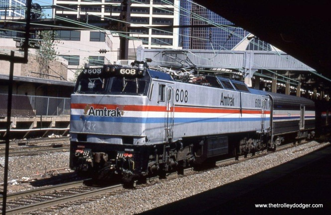 Photo 13. Amtrak E-60 MA #608 on Train #91 SILVER STAR at Penn Station Newark, NJ. 9-7-02.