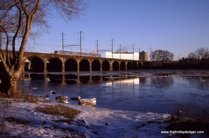 A 3 car train of SEPTA Siverliners crossing the Delaware River at Morrisville, PA in January of 2010.