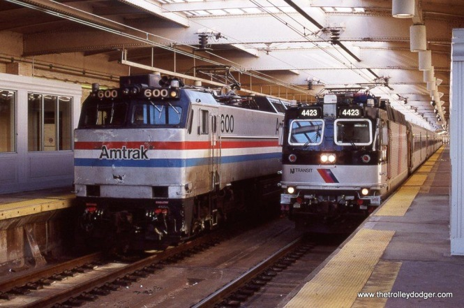 Photo 15. Amtrak E-60MA #600 & NJ Transit ALP-44 #4423 at Newark, NJ Penn Station 2-2-02.