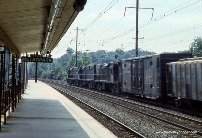 Conrail E-44 #4430 leads a westbound train at the Metropark station, Iselin, NJ. From my very first roll of 35mm slide film.