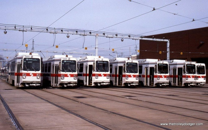 Line up of SEPTA Kawasaki cars at the Elmwood Avenue car barn in Philadelphia, PA. 1-25-92.