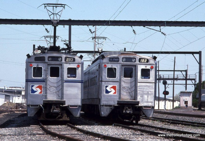 SEPTA Silverliner II #263 & Silverliner IV #182 at Lansdale, PA in April of 1993.