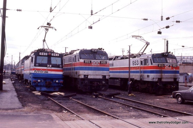 Photo 16. Amtrak AEM-7 #943 & E-60s #955 and #953 at New Haven, CT. 3-17-84.