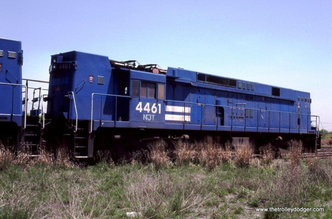 Conrail sold E-44 #4464 to NJ Transit in 1983 for use as work train power. The locomotive never turned a wheel for NJT and it is shown here at the Ex-CNJ yard at Elizabethport, NJ. 5-25-83.