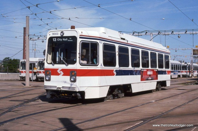 SEPTA Kawasaki car #9003 departs the Elmwood depot, 5-7-95.