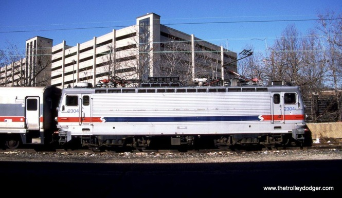 SEPTA AEM-7 #2304 laying over for the weekend at Trenton, NJ. 2-9-02.