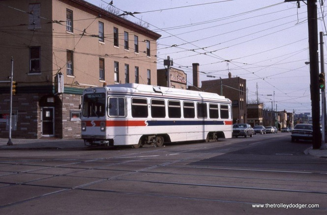 SEPTA Kawasaki car at 49th Street & Woodland Avenue in West Philadelphia, PA in 1992.