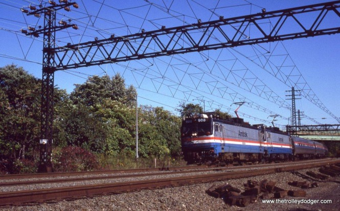 Photo 19. Amtrak AEM-7s 908 & 918 under the triangular catenary.