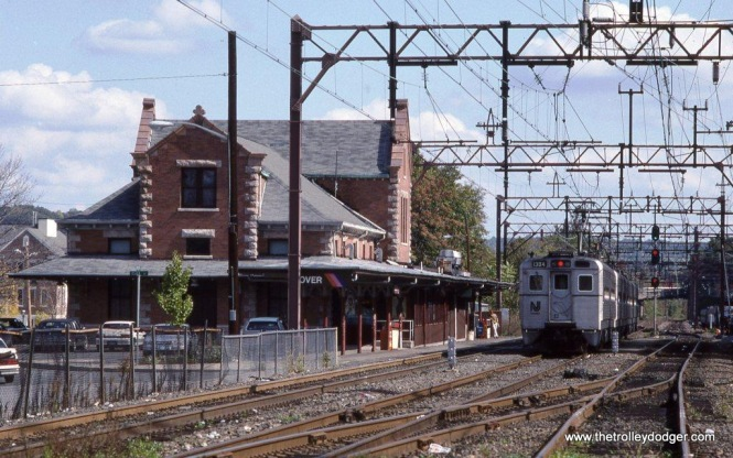Photo 2. NJT Arrow III MU #1304 at Dover, NJ. High level station platforms now obstruct the view of trains at this Ex-Lackawanna station.
