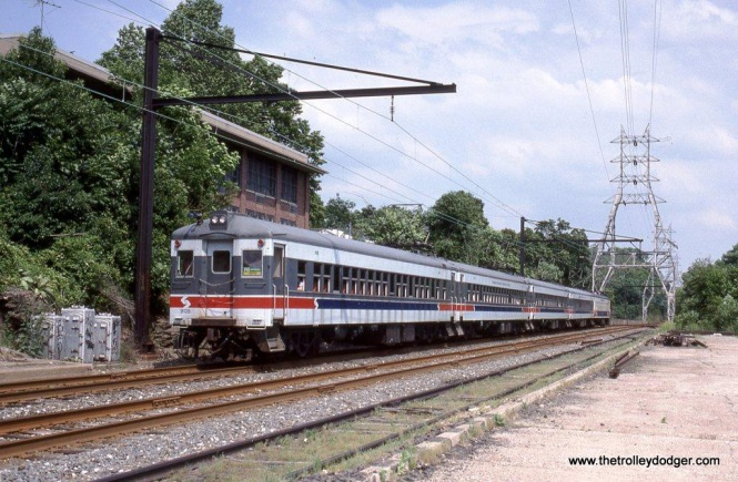 SEPTA Blueliner #9128 at Wissahickon, PA. Number 9128 has been preserved by the Reading Technical and Historical Society at Hamburg, PA. According to their website this MU, Reading Class EPb was built as an 80 seat steel coach by Harlan & Hollingsworth (subsidiary of Bethlehem Steel) in 1932 and converted into a MU trailer.