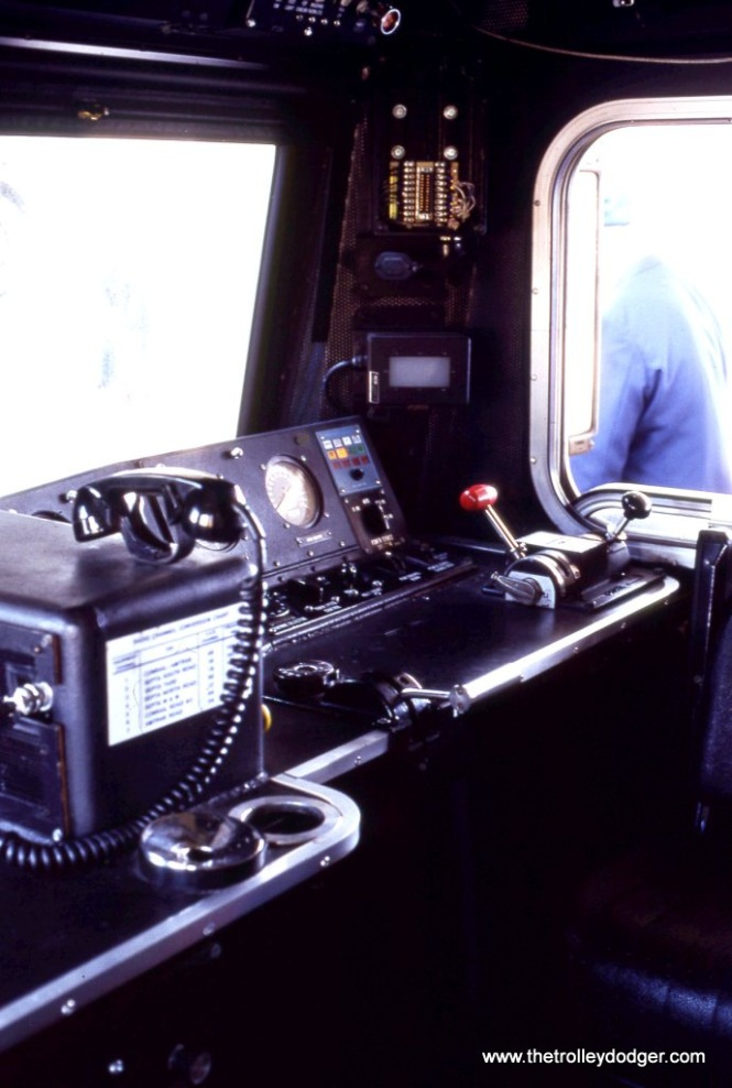 Interior of the cab of SEPTA AEM-7 #2307.