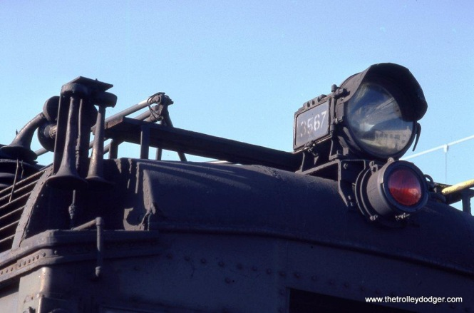 Photo 20. The Pyle-National headlight & Westinghouse Pneuphonic horn of an Ex-DL&W MU.