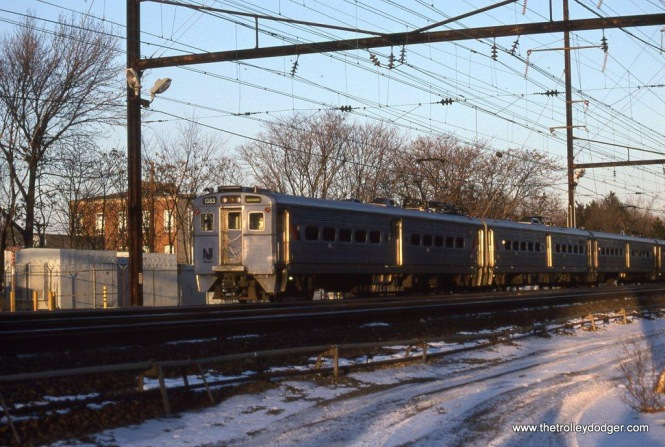 Photo 21. NJT Arrow III #1383 leads a Trenton bound train at Metuchen, NJ on January 12, 1997.