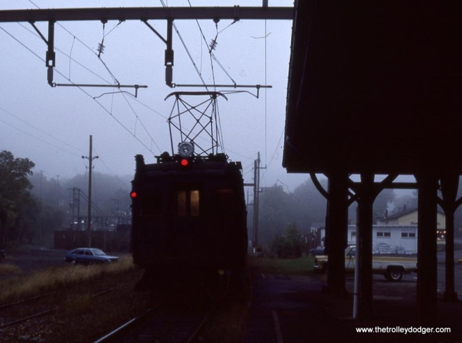 Photo 22. NJ Transit DC MUs departs Bernardsville, NJ into the gloom of an October evening and an uncertain future.