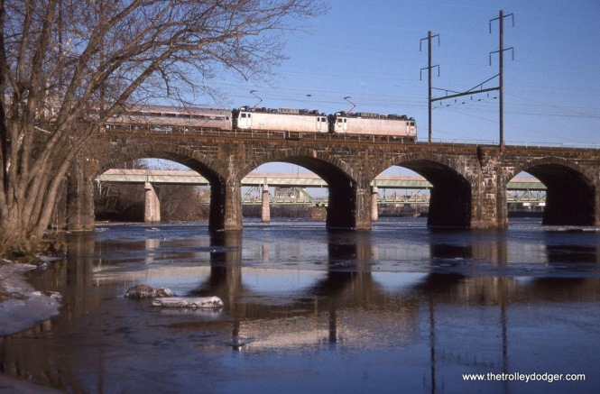 Photo 29. AEM-7ACs 939 & 919 on Train #162 crossing the Delaware River at Morrisville, PA.