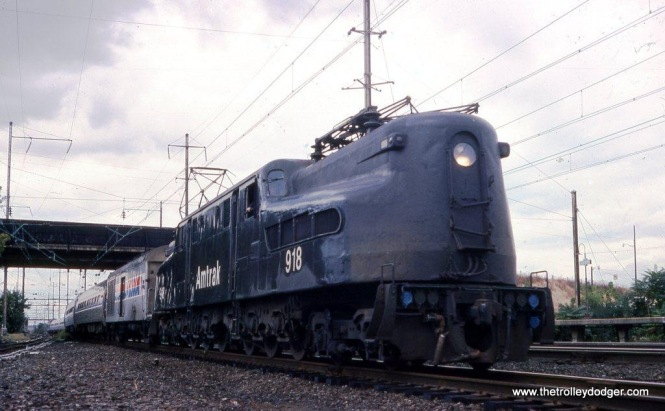 Photo 3. Amtrak GG-1 #918 at Lancaster PA October 3, 1978.