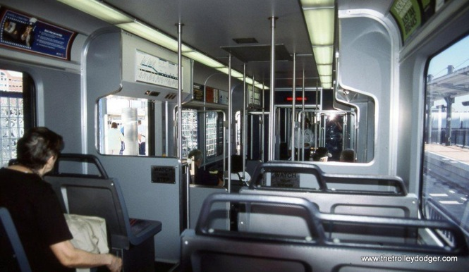 Photo 3. The interior of NJ Transit Hudson-Bergen LRV #2010A.