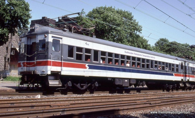 SEPTA Ex-Reading class EPb Blueliner MU #9116 in 1988.