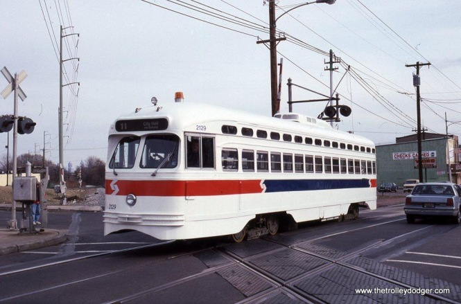 SEPTA PCC car #2129 at the CSX/SEPTA grade crossing at Main Street in Darby, PA.