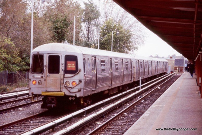 R-44 cars at the terminal in Tottenville, NY.