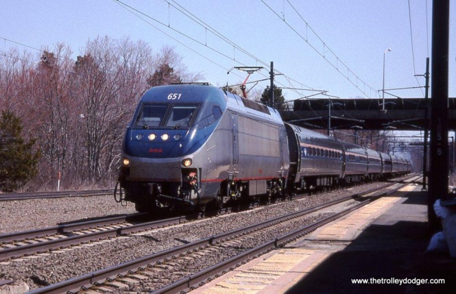 Photo 31. HHP-8 #651 on Train #93 at Old Saybrook, CT. High maintenance costs and low reliability doomed these locomotives to barely ten years of service on Amtrak.