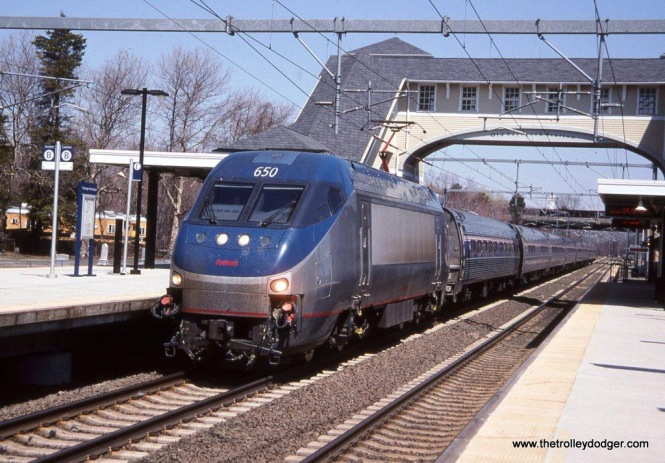 Photo 32. Amtrak HHP-8 #650 on Train #173 at Old Saybrook, CT. 4-19-05.