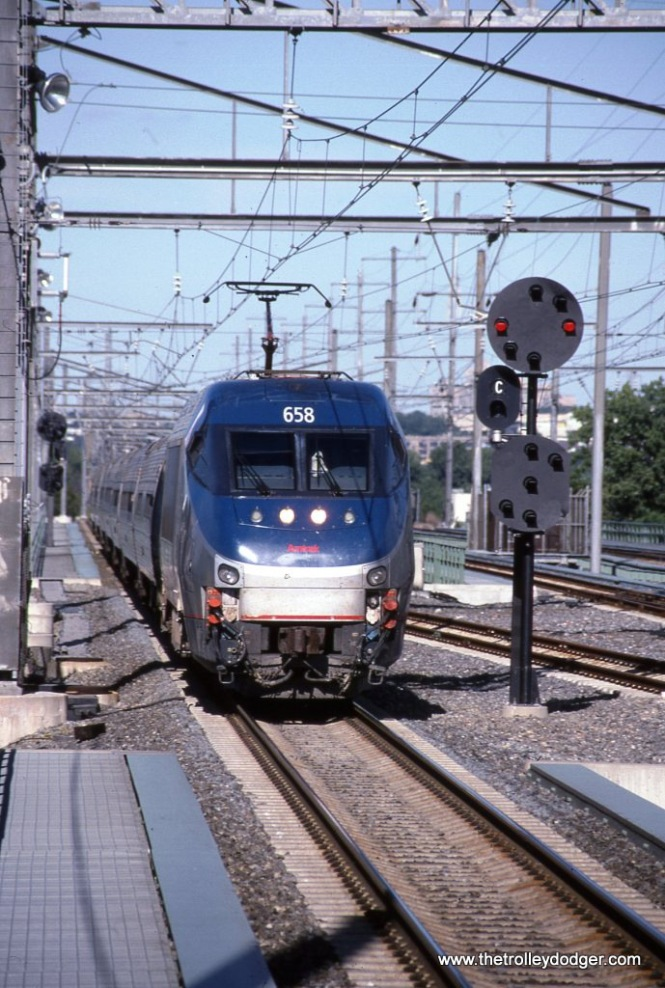 Photo 34 Amtrak HHP-8 #658 with Train #163 at Secaucus Junction, NJ. 9-6-03.