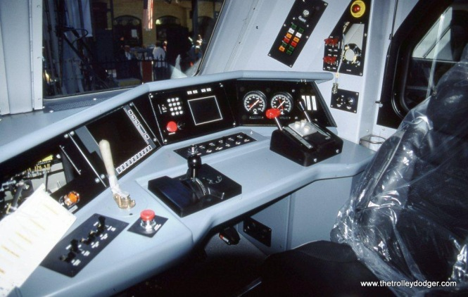 Photo 4. This is the cab interior of brand new NJT ALP-46 #4610 on September 29, 2002. The locomotive has not yet been set-up for revenue service, notice the plastic covering is still on the engineer's seat.