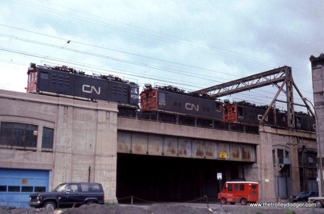 CN Box cabs #6714, # 6715, & #6722 at Montreal, Que. 6-14-85.