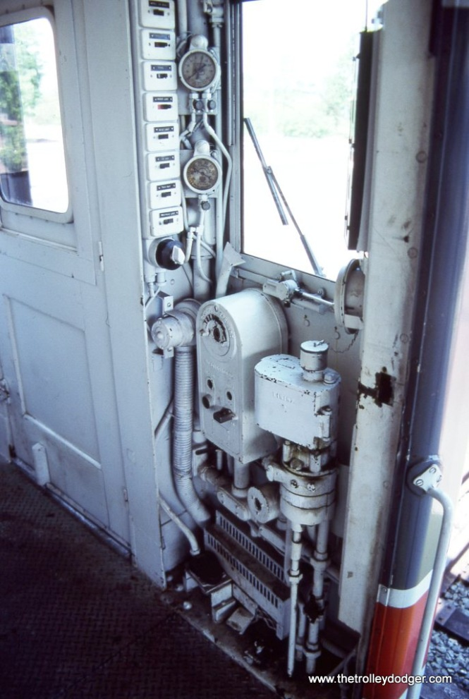 The engineer's Controls of SEPTA Blueliner MU #9119.