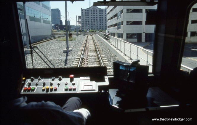 Photo 4. Motorman's View of the Newport flyover at Jersey City, NJ from NJT Hudson-Bergen LRV #2010A.