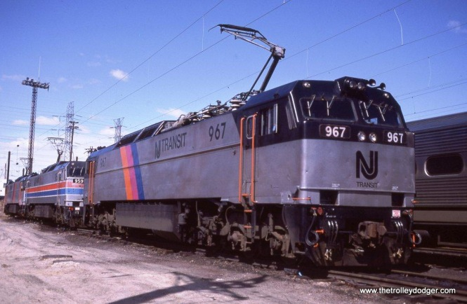 Photo 4. NJT E-60 #967 looks rather good in her new paint job. South Amboy, NJ. 3-31-84.