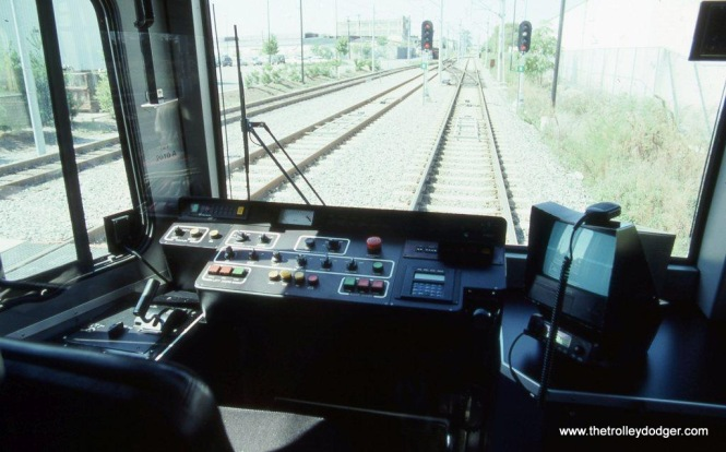 Photo 5. The motorman's controls of Hudson-Bergen LRV #2010A at Garfield Avenue, Jersey City, NJ