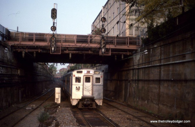 Photo 5. NJT Arrow II #1287 arrives at Summit, NJ. 10-15-89.