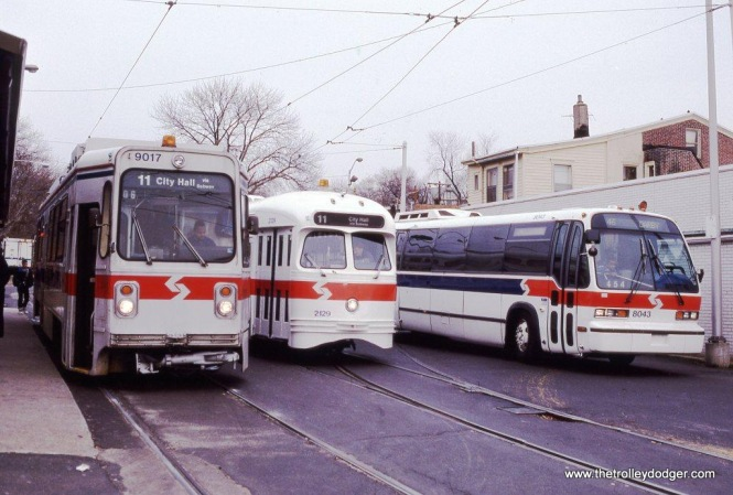 SEPTA Kawasaki car #9017, PCC #2129, & GM RTS bus (model T8W603) #8043 at Darby, PA in 1992.