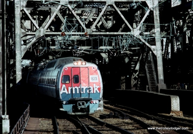 Photo 6. Metroliner #823 crossing the DOCK drawbridge and arriving at Penn Station Newark, NJ.