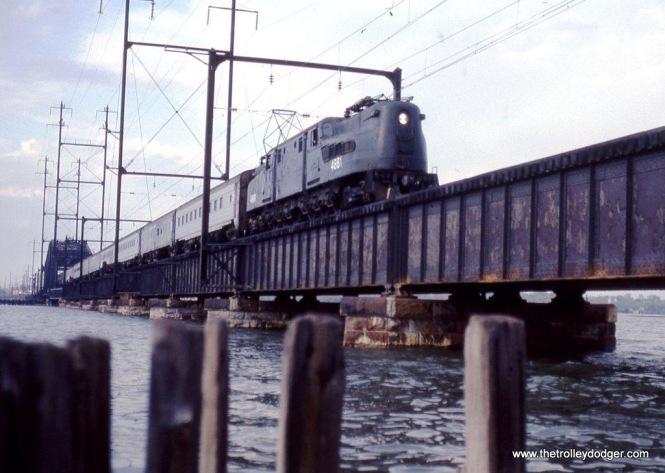 Photo 6. NJDOT GG-1 #4881 crossing RIVER drawbridge into South Amboy, NJ.