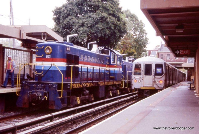 "Staten Island S-1 #821 & R-44 cars at Annadale. The Alco was leading an Electric Railroaders Association ""Farewell to the Alcos"" fan trip on October 25, 2008."