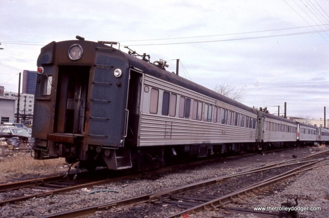 "Ex-NH 4400 ""Washboard"" MUs in the dead line at New Haven, CT on March17, 1984 awaiting scrapping."