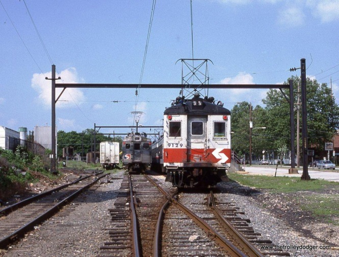 SEPTA Blueliner #9129 at Elm Street Station in Norristown, PA in 1989.