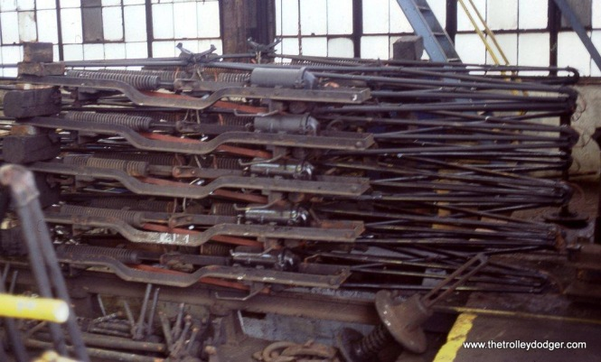 Photo 7. Stacked pantographs at MU shed in Hoboken, NJ.
