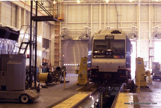Photo 8. NJT class unit ALP-45DP # 4500 in the locomotive shop Meadows Maintenance complex.