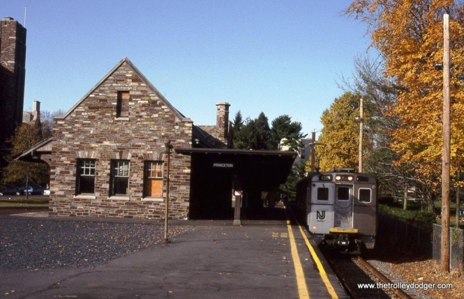 "Photo 8. NJT Arrow III #1319 was assigned to the ""Dinky"" train on the Princeton Breach this day. The train is at the Ex-PRR station (built in 1918) at Princeton, NJ. When this photo was taken in 1992 this was the terminus of the branch. Trackage has since been cut back 460 feet to make way for a new Princeton University Arts Center. At just 2.7 miles, the five minute trip from the Northeast Corridor connection at Princeton Junction to the end of the line is the shortest commuter rail service in the US."