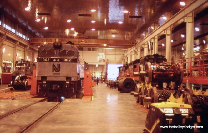 Photo 8. NJ Transit E-60 #962 in the Meadows Maintenance Complex at Kearny, NJ. 7-26-88.