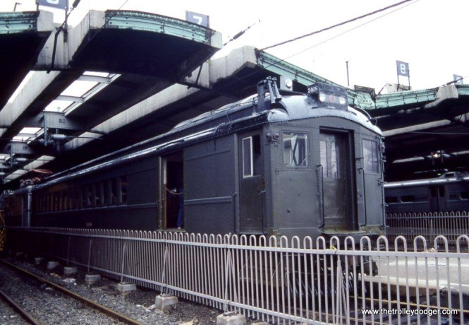 Photo 9 NJT Catenary inspection car 3408 again on display at a festival in Hoboken this time on September 27, 1986. It once again wears the Pullman green paint that the DL&W used on the MU fleet.
