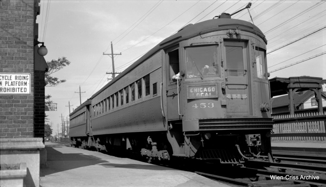 CA&E 453, a 1945 product of St. Louis Car Company, at the Wheaton station. (Robert Selle Photo, Wien-Criss Archive)