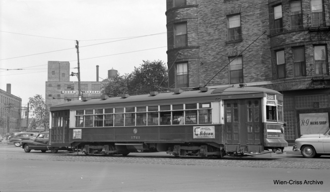 "CTA 171 on Ogden at Ashland, operating on Route 58. The white stripe indicates that this is a one-man car. 1721 was part of a series known as ""169"" or Broadway-State cars. (Robert Selle Photo, Wien-Criss Archive)"