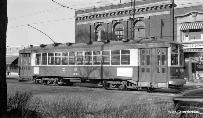 CTA 1765 is at the west end of Route 16 - Lake, at Austin Boulevard, the city limits, in 1952. The old Park Theater is behind the streetcar. It closed around this time, although it may still have been open when this picture was taken. (Robert Selle Photo, Wien-Criss Archive)