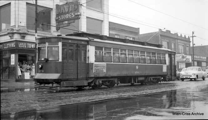 CTA 276 is eastbound at 63rd and Paulina on Route 63, probably in 1953 near the end of streetcar service on this line. (Robert Selle Photo, Wien-Criss Archive)