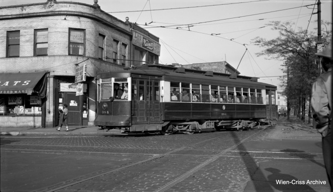 CTA Pullman 384 at Roosevelt and Paulina. Cars on Route 9 - Ashland took a jog here, as streetcars were not allowed to run on boulevards. (Robert Selle Photo, Wien-Criss Archive)